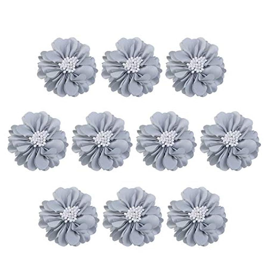 Vosarea 10個装飾シフォン花平底美しいDIY手作りぼろぼろの花のヘアクリップヘアアクセサリー(ブルー)