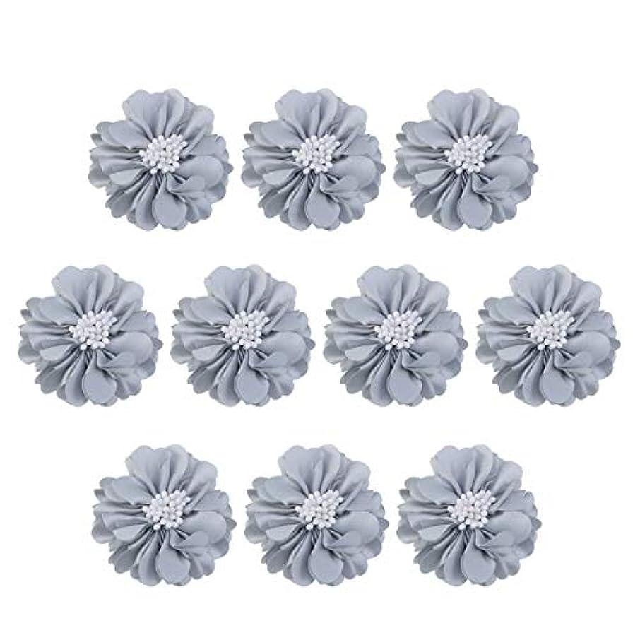 韓国に対してコメントVosarea 10個装飾シフォン花平底美しいDIY手作りぼろぼろの花のヘアクリップヘアアクセサリー(ブルー)