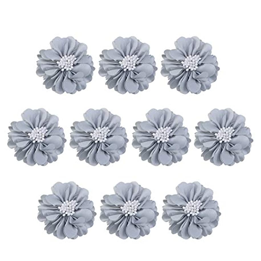 浸漬に関してそのVosarea 10個装飾シフォン花平底美しいDIY手作りぼろぼろの花のヘアクリップヘアアクセサリー(ブルー)