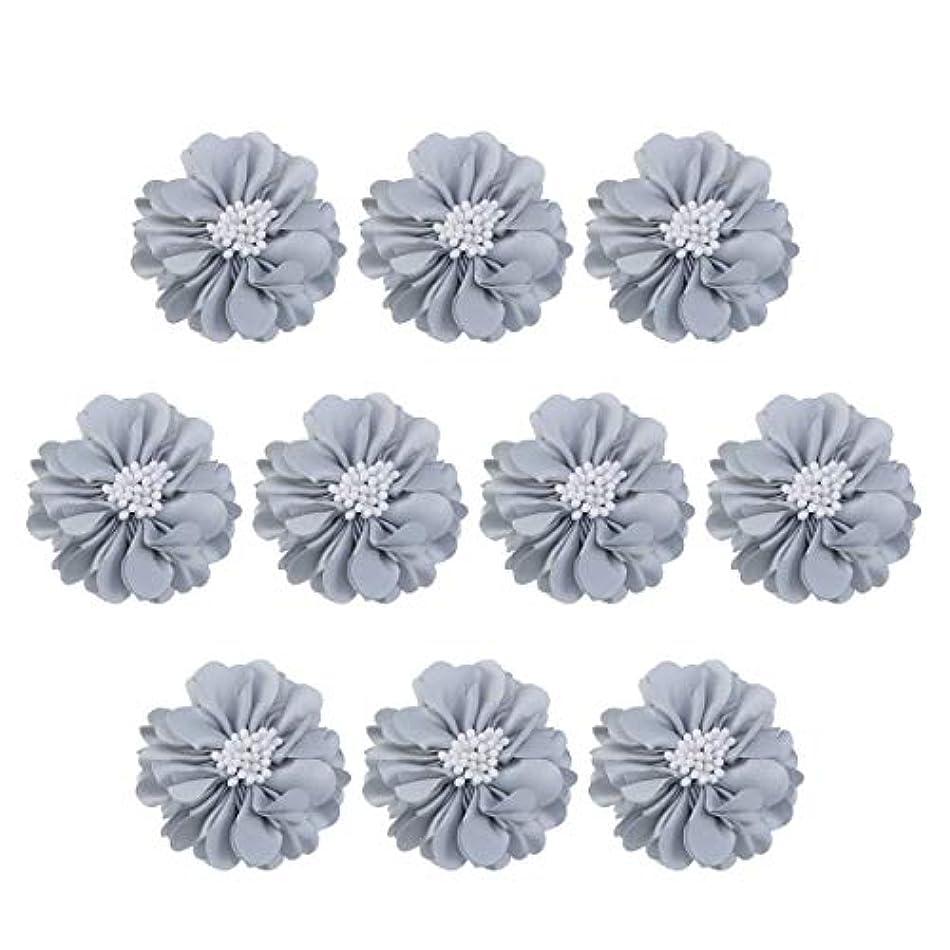 これまでかろうじてコンピューターゲームをプレイするVosarea 10個装飾シフォン花平底美しいDIY手作りぼろぼろの花のヘアクリップヘアアクセサリー(ブルー)