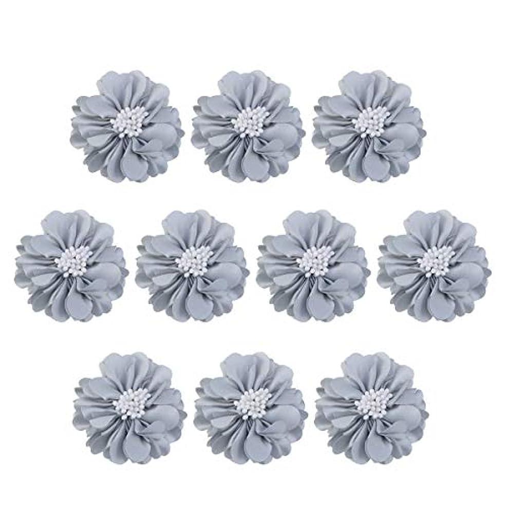 デコレーション金曜日なだめるVosarea 10個装飾シフォン花平底美しいDIY手作りぼろぼろの花のヘアクリップヘアアクセサリー(ブルー)
