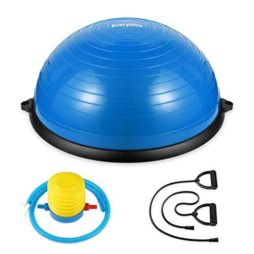 バランスボール 半円型 チューブ付き 半球 ダイエット 直径58㎝ Everymile エクササイズボール 体幹トレーリング バランスボード 空気入れ付属 運動 ヨガ 腹筋 背筋 (ブルー)