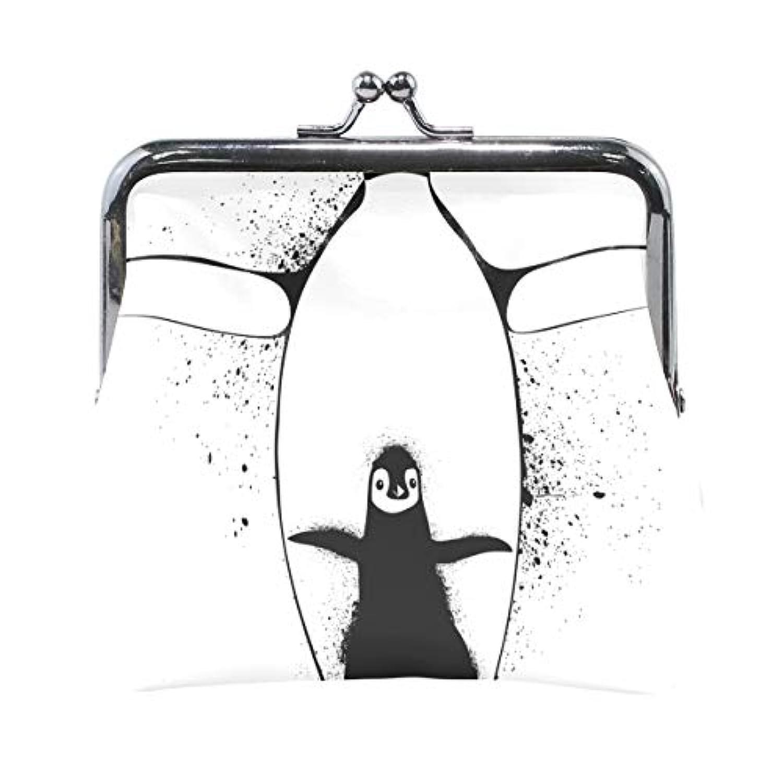 AOMOKI 財布 小銭入れ ガマ口 コインケース レディース メンズ レザー 丸形 おしゃれ プレゼント ギフト デザイン オリジナル 小物ケース ペンギン かわいい 親子