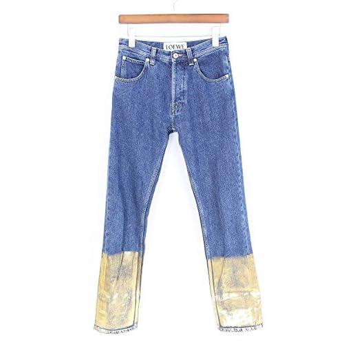 (ロエベ)LOEWE 【17SS】【 Gold Cuff Fisherman Jeans】フィッシャーマンロールアップデニムパンツ(42/インディゴ×ゴールド) 中古