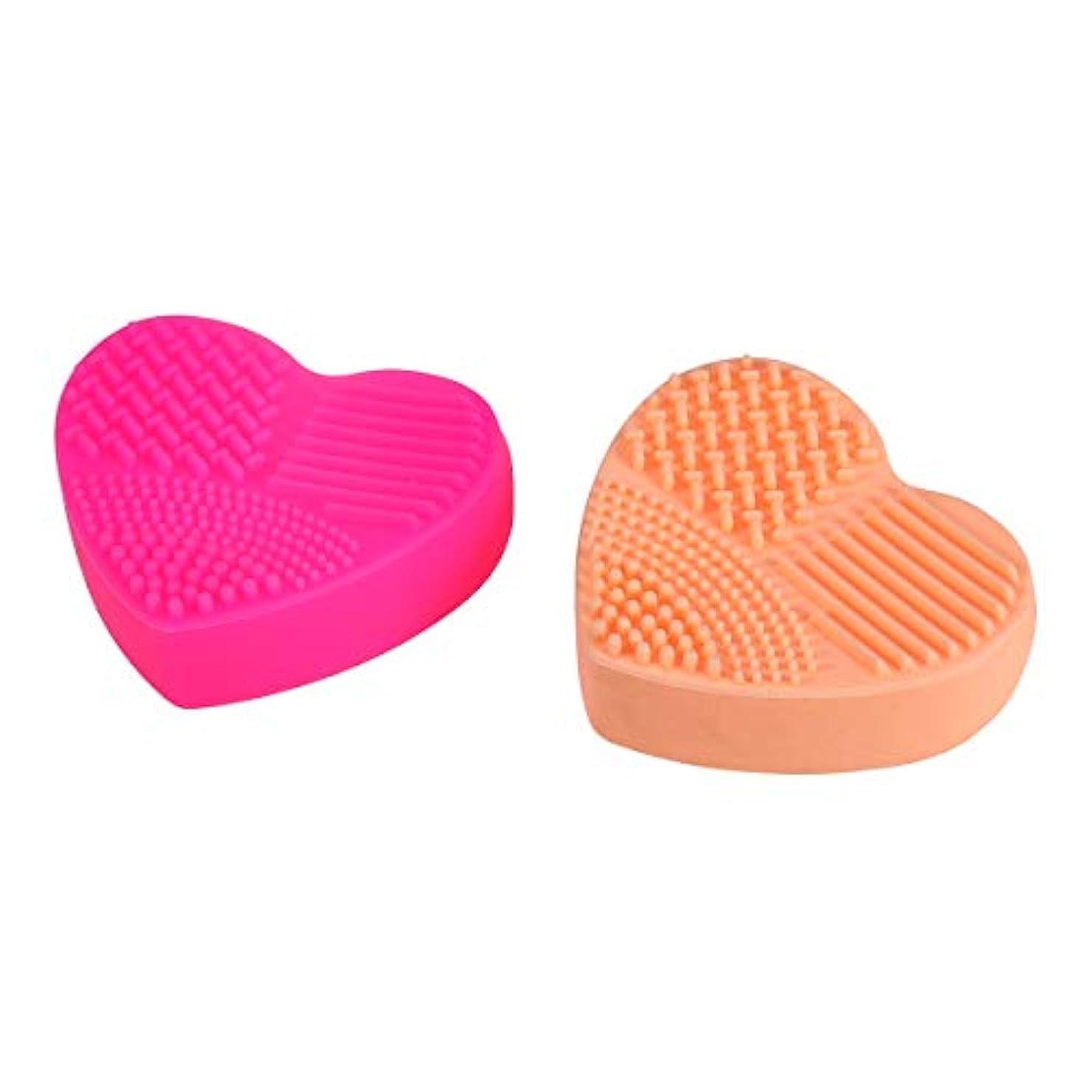添加ソース緩やかなBeaupretty 2本シリコン化粧ブラシクリーニングマットハート型化粧ブラシクリーニングパッドポータブル洗濯道具(バラ色、オレンジ)