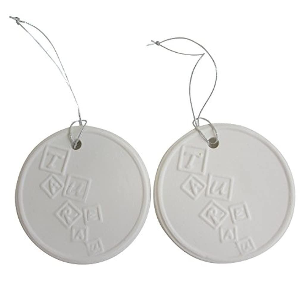 圧倒する温度裂け目アロマストーン ホワイトコイン 2セット(ロゴ2) アクセサリー 小物 キーホルダー アロマディフューザー ペンダント 陶器製