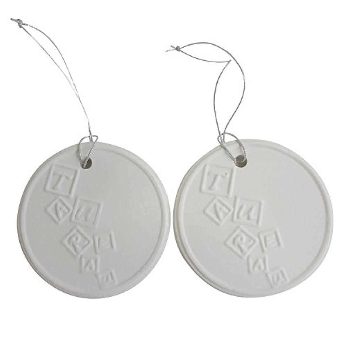 鼻活性化するメンターアロマストーン ホワイトコイン 2セット(ロゴ2) アクセサリー 小物 キーホルダー アロマディフューザー ペンダント 陶器製