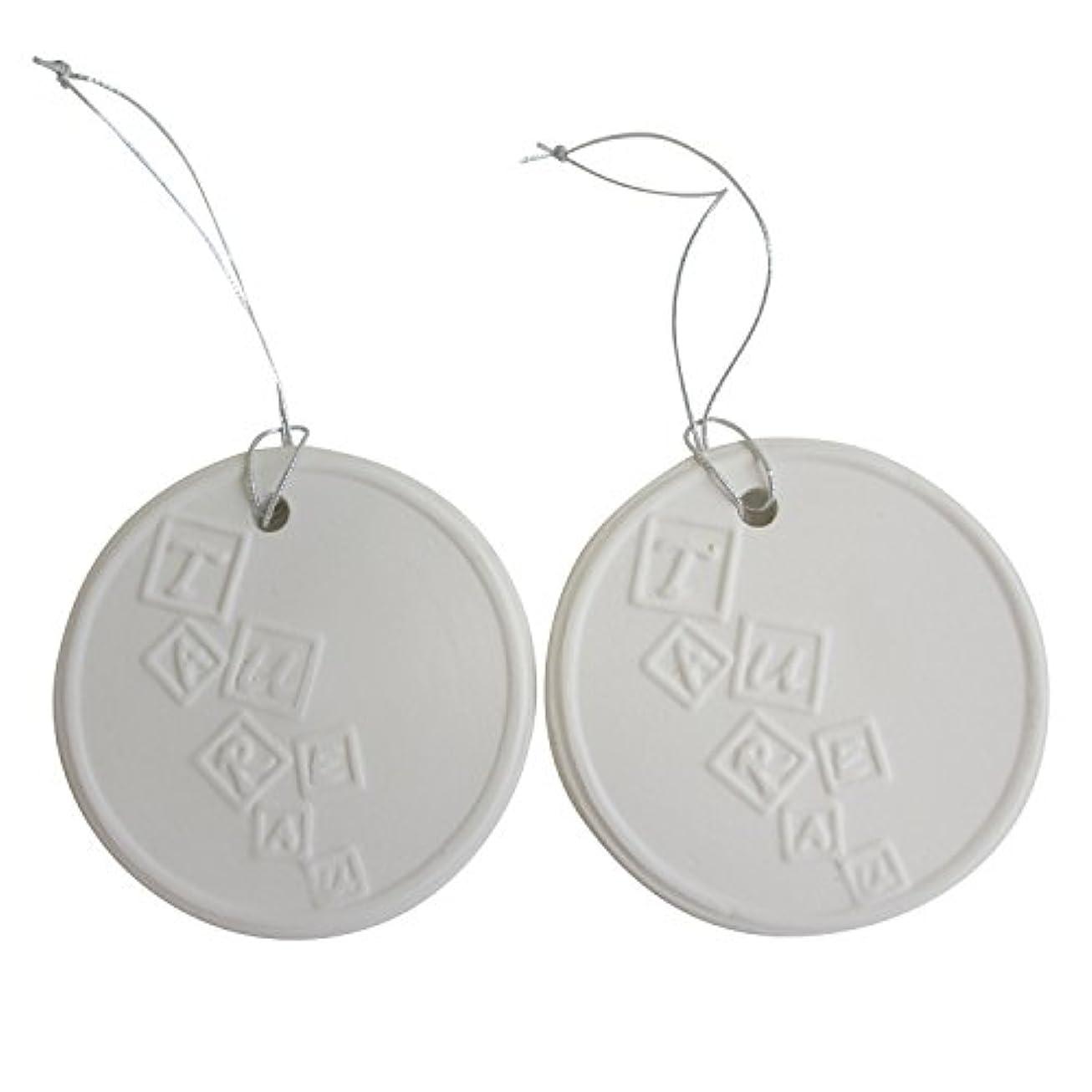 アロマストーン ホワイトコイン 2セット(ロゴ2) アクセサリー 小物 キーホルダー アロマディフューザー ペンダント 陶器製