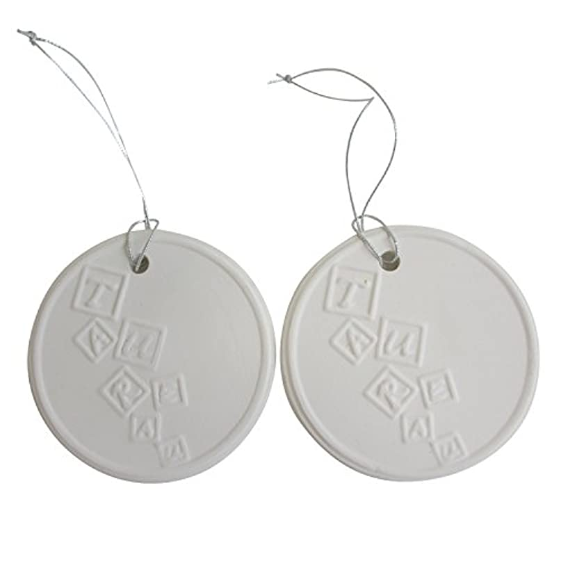 実質的に宗教的な浮くアロマストーン ホワイトコイン 2セット(ロゴ2) アクセサリー 小物 キーホルダー アロマディフューザー ペンダント 陶器製