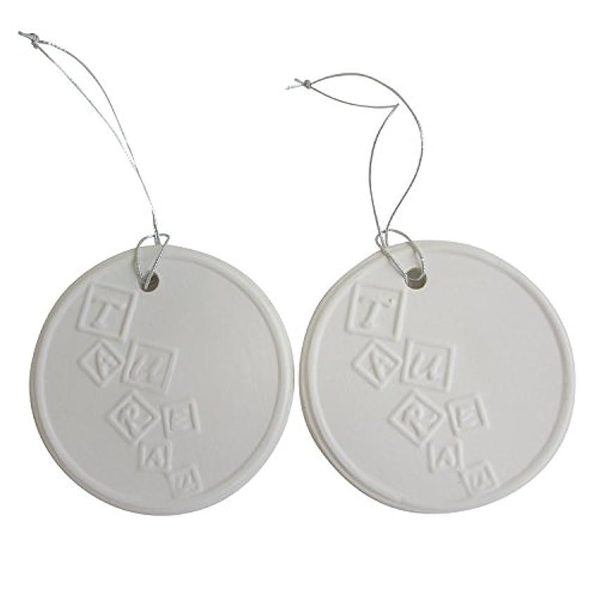 愛人郵便局遺伝的アロマストーン ホワイトコイン 2セット(ロゴ2) アクセサリー 小物 キーホルダー アロマディフューザー ペンダント 陶器製