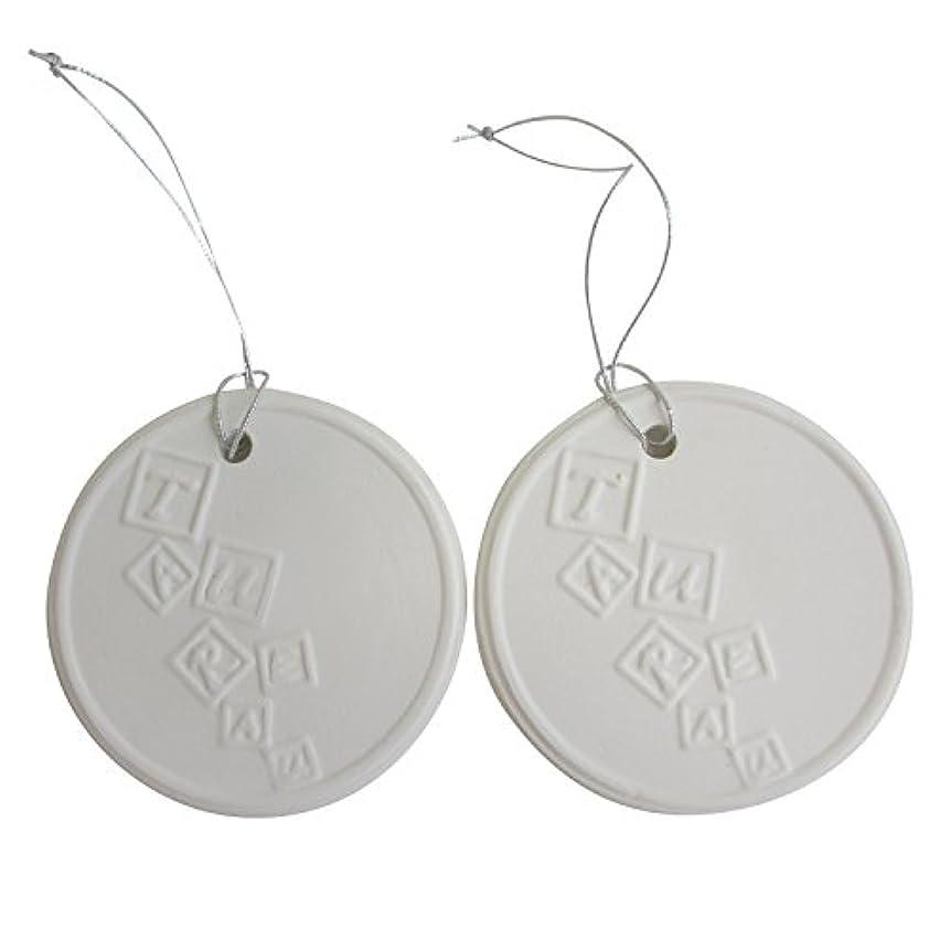 トリクル罪悪感ドルアロマストーン ホワイトコイン 2セット(ロゴ2) アクセサリー 小物 キーホルダー アロマディフューザー ペンダント 陶器製