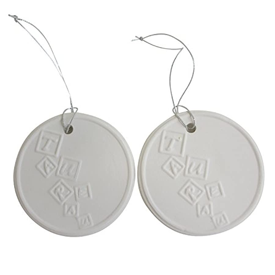 調査僕の矢アロマストーン ホワイトコイン 2セット(ロゴ2) アクセサリー 小物 キーホルダー アロマディフューザー ペンダント 陶器製