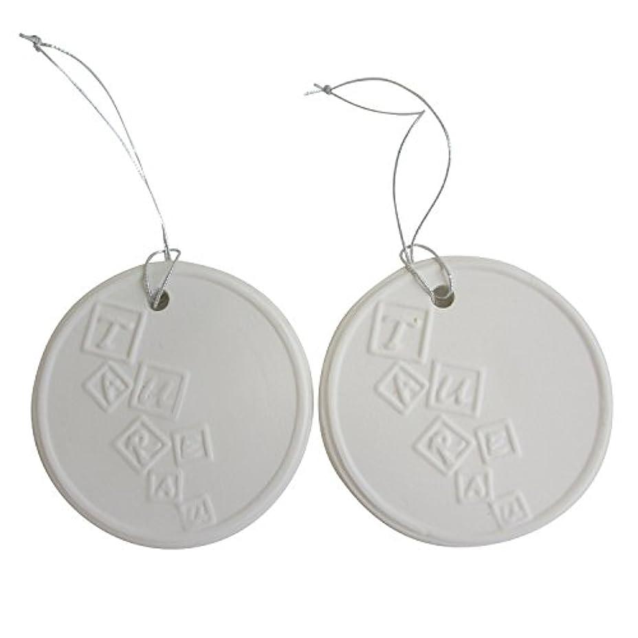 オセアニア南方のだますアロマストーン ホワイトコイン 2セット(ロゴ2) アクセサリー 小物 キーホルダー アロマディフューザー ペンダント 陶器製