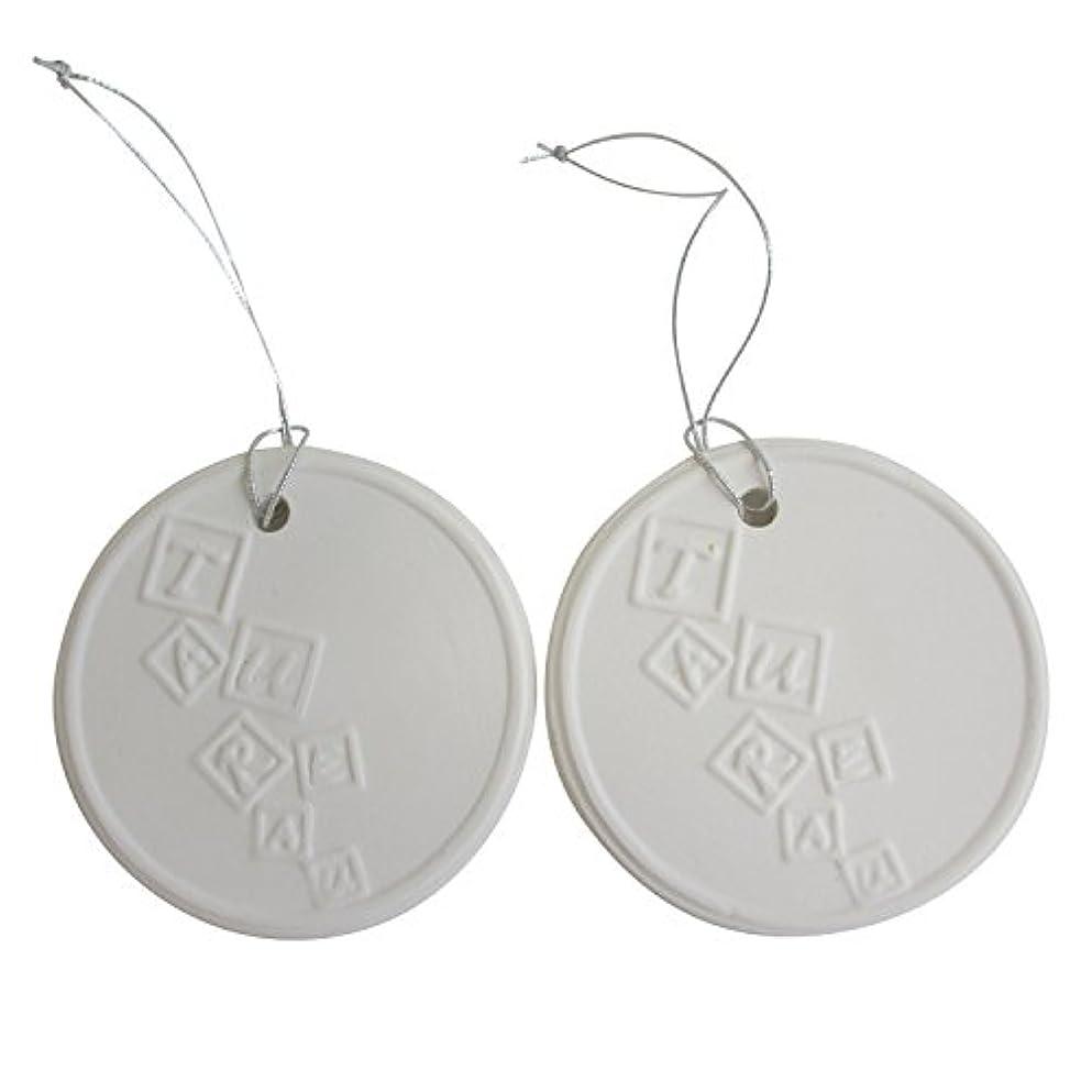 熱心無知衣服アロマストーン ホワイトコイン 2セット(ロゴ2) アクセサリー 小物 キーホルダー アロマディフューザー ペンダント 陶器製