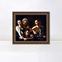 """INVIN ART Framed Canvas Art Giclee Print Salome with The Head of St John The Baptist by Michelangelo Merisi da Caravaggio Wall Art Decorations(Vintage Embossed Gold frame,32""""x32"""")"""