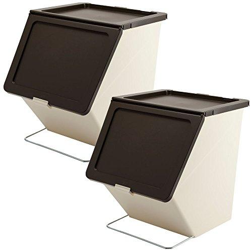スタックストー ペリカン ガービー 38L 2個セット stacksto, pelican garbee ゴミ箱 ごみ箱 ダストボックス (ブラウン×ブラウン)