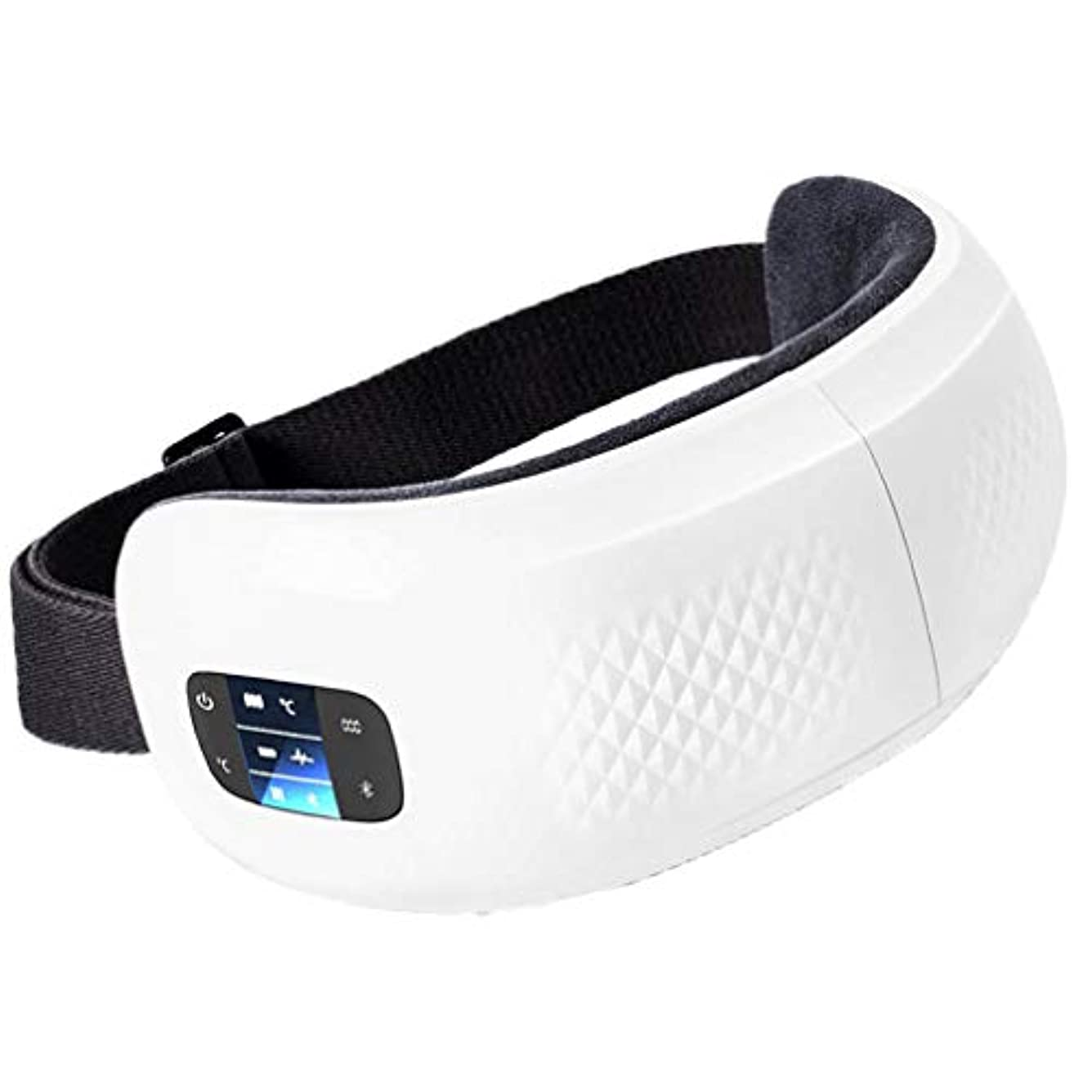 チューリップ木材誕生折り畳み式のワイヤレス電動アイマッサージャー振動マッサージ、熱/音楽/空気圧縮機能で目をリラックスさせ、くまや頭のストレスを軽減