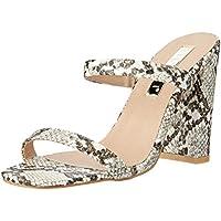 BILLINI Women's Omega Block Heel Mule, Cream Snake, 9 AU