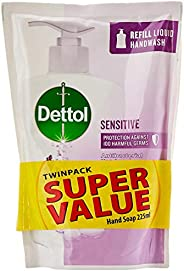 Dettol Sensitive Anti-Bacterial Twinpack Hand Wash Refill, 225ml (Pack of 2)