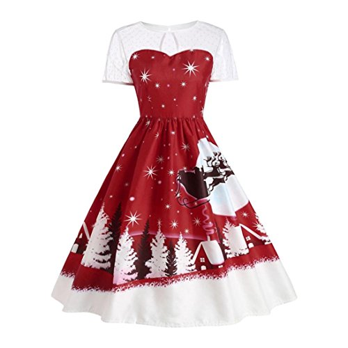 Gillberry Women's Dress Vintage Christmas O-Neck Printed Short Sleeve A-Line Swing Dress Large Wine