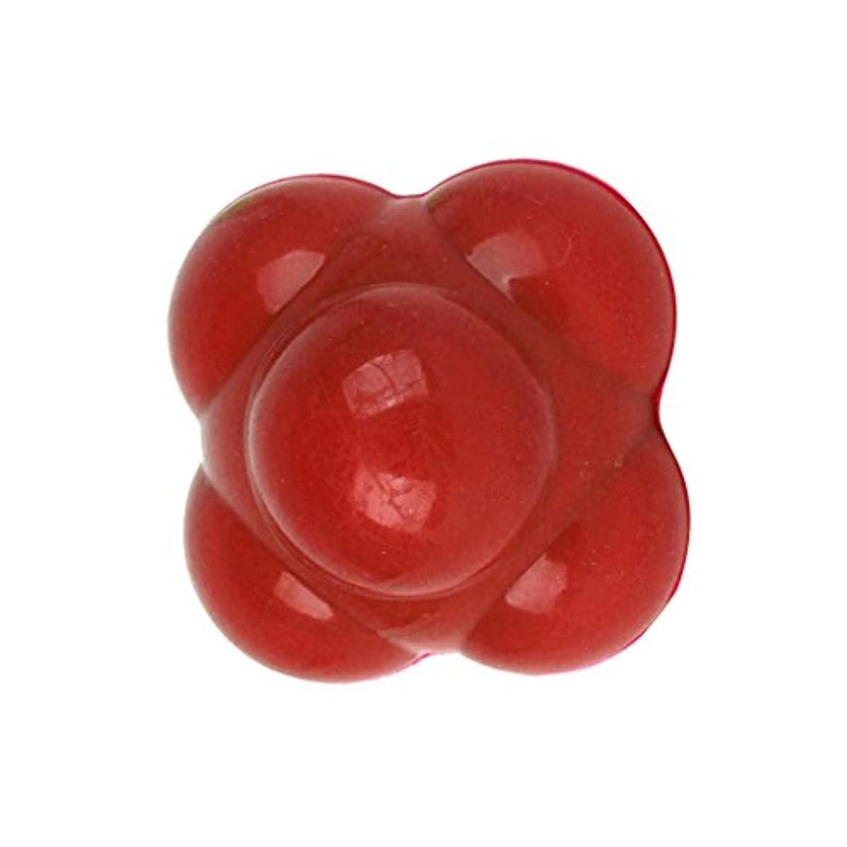 粒子オフ過敏な【ノーブランド品】六角反応ボール 六角マッサージボール 反射運動トレーニング赤