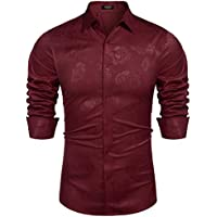 Coofandy Mens Floral Long Sleeve Dress Shirt Rose Printed Luxury Satin Silk Button Down Shirts