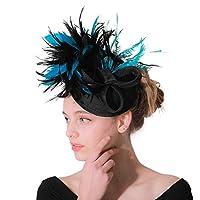 魅惑的な帽子羽メッシュネットベールパーティー帽子ジョッキークラブヘッドギアダービー帽子でクリップとヘアバンド用女性 ハット (Color : Blue black, Size : Free size)