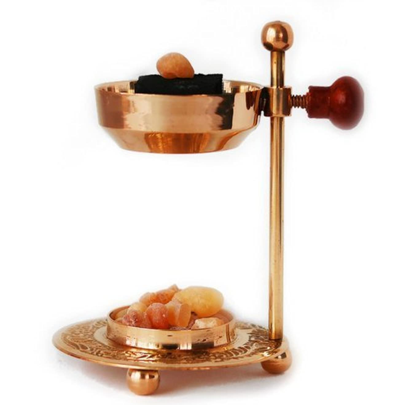 放映ディーラー促すHandmade Adjustable Brass/Gold Incense and Frankincense Resin Burner/Censer holder for Charcoal and Candles. Ideal...