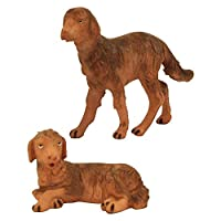 Fontanini Standing and Sitting Dogsイタリア村Nativity Figurine Set of 2 by Fontanini