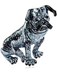 ボコダダ(Vocodada)ブローチ レディース キラキラ ピンバッチ かわいい 胸飾り ブルドッグ 犬 パンダ 可愛いおしゃれ 純潔 ピン ネクタイピン ギフト 記念日 プレゼント お返し (A)