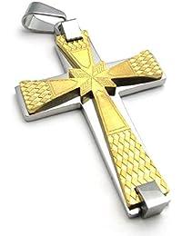 [テメゴ ジュエリー]TEMEGO Jewelry メンズステンレススチールヴィンテージペンダントゴシッククロスネックレス、ゴールデンシルバー[インポート]