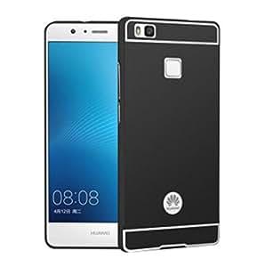 【M&Y】Huawei P9lite ケース ファーウェイ P9lite バンパー ファーウェイ P9liteカバー アルミバンパーケース Huawei P9lite アルミフレームカバーかっこいい 背面パネル付き 背面カバー付きP9liteメタルサイドバンパーMY-P9L-PC-60612【全4色】 (ブラック)