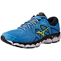 Mizuno Australia Men's Wave Sky 2 Running Shoes, Azure Blue/Sharp Green/Black