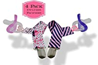 Kozee Baby Pacifier Clips for Girls | 1 Stripe + 1 Print | 8 Length, Metal Clasp, Premium Quality, Safe & Non-Toxic, Set of 2 | Includes 2 Pacifiers, 1 Vanilla Scent, 1 Scent Free by Kozee Baby
