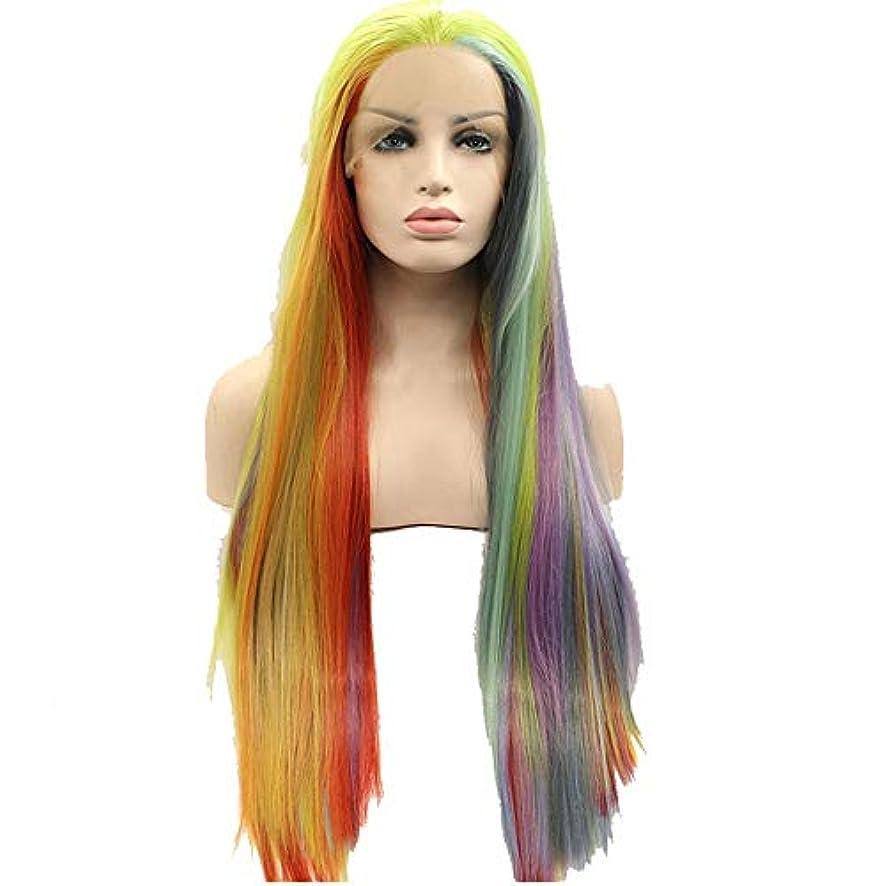 外側推論表示かつら 混合色ロングストレートヘアウィッグ、スタイルファッション化学繊維フロントレースウィッグ、ナチュラルリアルなレディースウィッグ