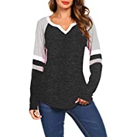 Women's Long Sleeve V Neck Raglan Shirts Loose Blouse Tops Casual Striped Tunic Tee Shirts