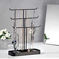 JackCubeDesign Metal 3 Tier Jewelry Display Stand Tree Organizer Bracelet Necklace Holder Rack Hanger Tower with Earring Ring Tray Storage Tabletop(Black, 12.1 x 4.1 x 16.1 inches) – :MK320D