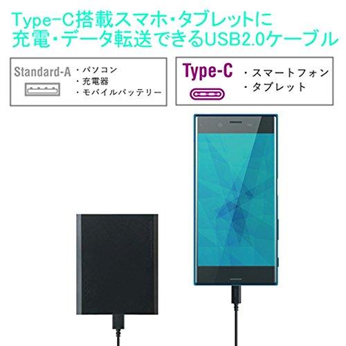 エレコム USB Type C ケーブル タイプC (USB A-C) 超急速充電 USB2.0準拠品【Xperia XZS/Galaxy S8/Xperia XZ/対応 】 0.5m ブラック MPA-AC05BK