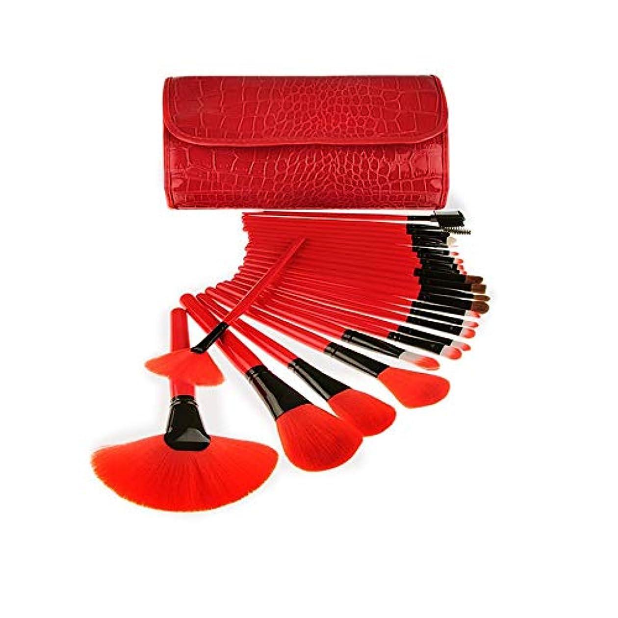 衣服伝統おんどりCHANGYUXINTAI-HUAZHUANGSHUA 旅行を容易にするための混合基礎ブラシのための24本の化粧ブラシのセット。 (Color : Red)