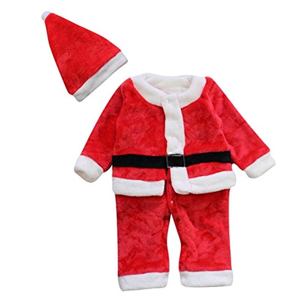 バンクレアいっぱいLe SSara 冬の赤ちゃんクリスマスロンパー新生児のボディスーツコスチューム衣装帽子2個 (0-6 Months)