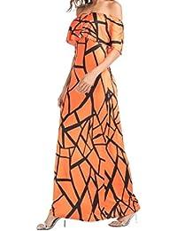 Qiangjinjiu Women's Off The Shoulder Ruffer Print Maxi Dresses