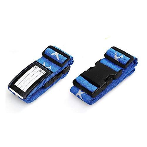 3a1892b1a5 スーツケースベルト 2本組 蛍光十字型 ロック搭載バンド 荷物の固定 旅行用品 (ブルー) 商品の詳細: サイズ:2本セット 素材:ナイロンのベルト、POMバックル  水平 ...