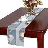 GGSXD テーブルランナー おかしい サイ クロス 食卓カバー 麻綿製 欧米 おしゃれ 16 Inch X 72 Inch (40cm X 182cm) キッチン ダイニング ホーム デコレーション モダン リビング 洗える