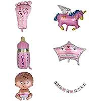 Prettyia ベビーシャワー 出産祝い 女の子 パーティー 工芸品 壁飾り 風船 バルーン 6点いり