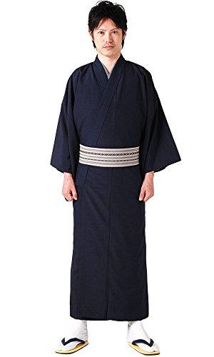 (キョウエツ) KYOETSU メンズ洗える単衣着物 無地 紬生地 単衣 仕立て上がり (M, 紺)