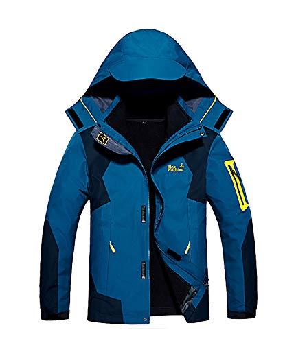 メンズ アウトドア ジャケット 裏フリース 3in1 コート 防水防風 アノラック ウンテンジャケット スキーウェア 登山服 牛仔蓝 L