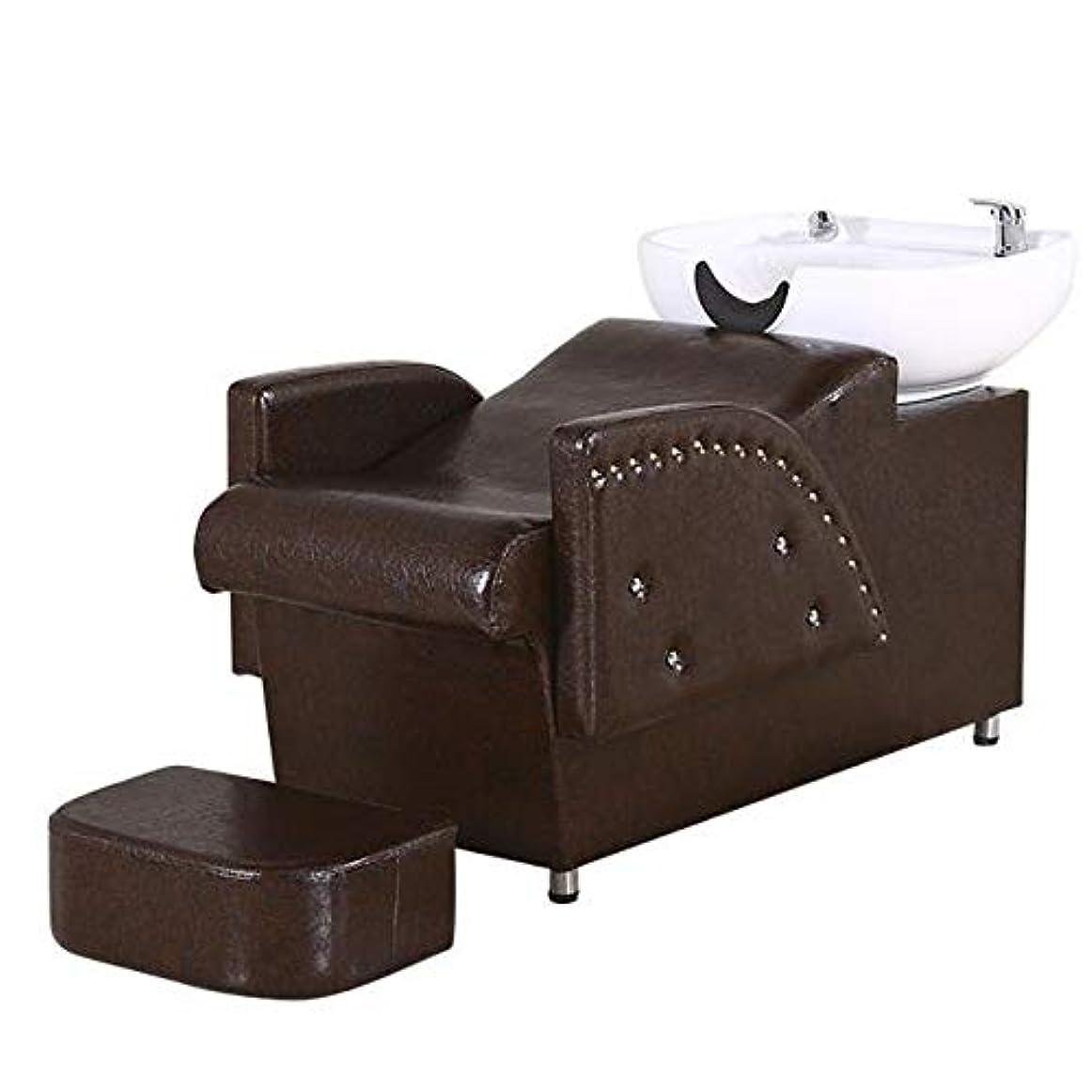 シミュレートする力強い粘土シャンプー椅子、逆洗ユニットシャンプーボウル理髪シンク椅子スパ美容院機器半横臥シャンプーベッド