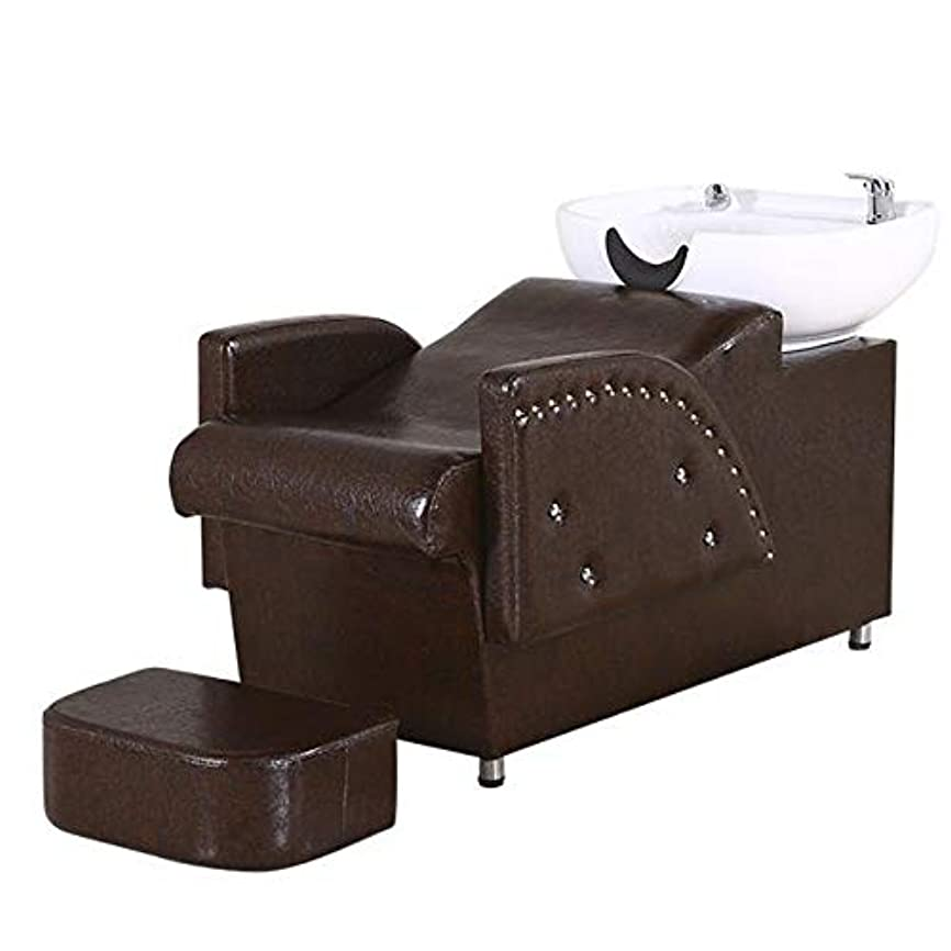 残る保持する見えないシャンプー椅子、逆洗ユニットシャンプーボウル理髪シンク椅子スパ美容院機器半横臥シャンプーベッド