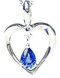 J-Jewelry WG 天然 サファイア ネックレス ハートの中で涙カットが揺れる
