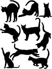 【ぴぴっと】 ウォールスッテカー 動物 ねこ 簡単 シール DIY インテリア 黒猫 9タイプ